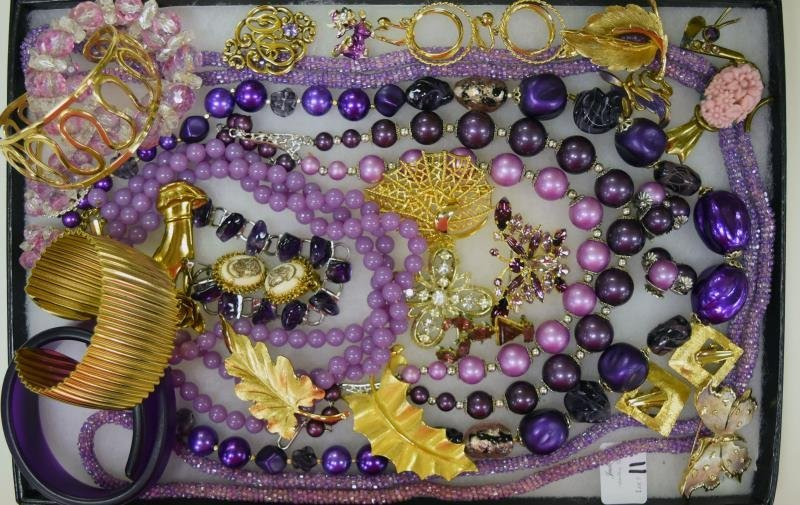 Collection of Purple & Goldtone Jewelry