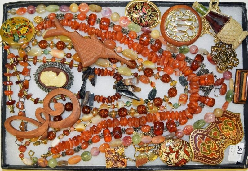 Collection of Amber Costume Jewelry