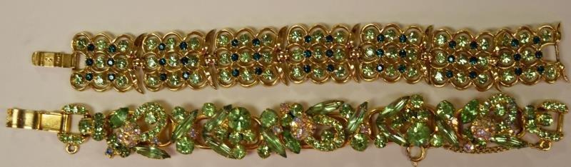 Two Green Rhinestone Vintage Bracelets