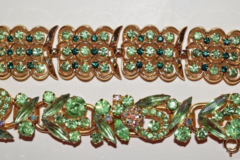 Two Green Rhinestone Vintage Bracelets - 2