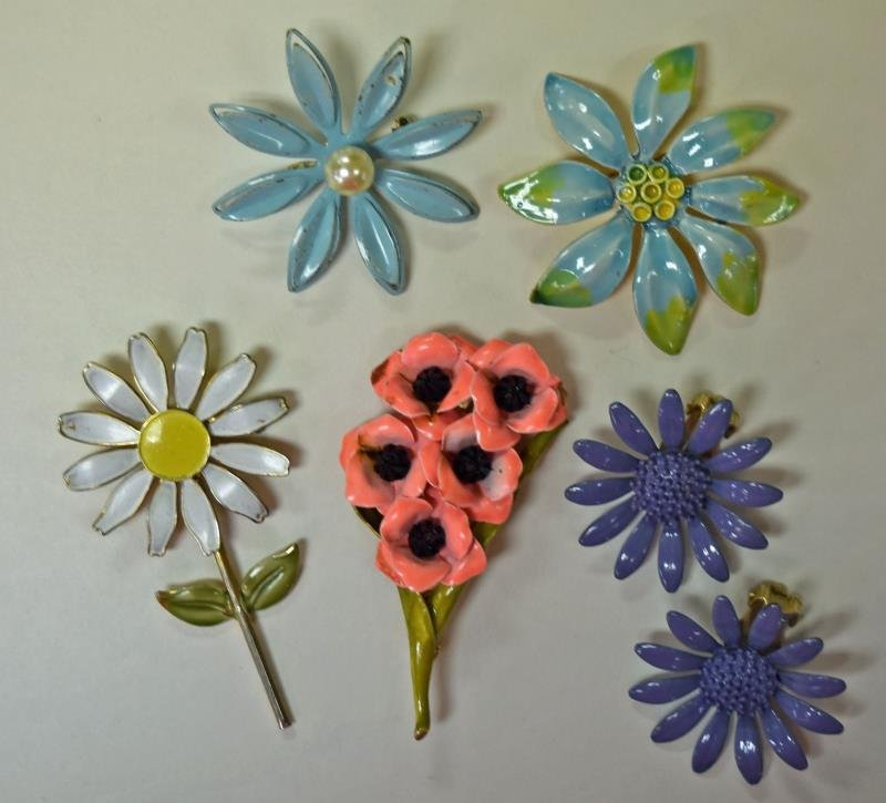 Mid-Century Metal Flower Pins and Earrings