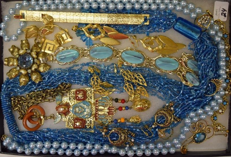 Goldtone and Blue Costume Jewelry
