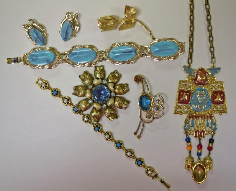 Goldtone and Blue Costume Jewelry - 2