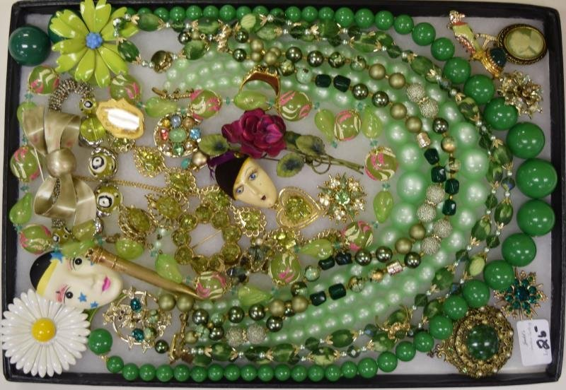 Green Collection of Costume Jewelry
