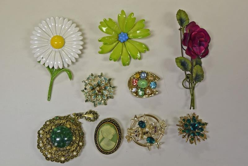 Green Collection of Costume Jewelry - 2