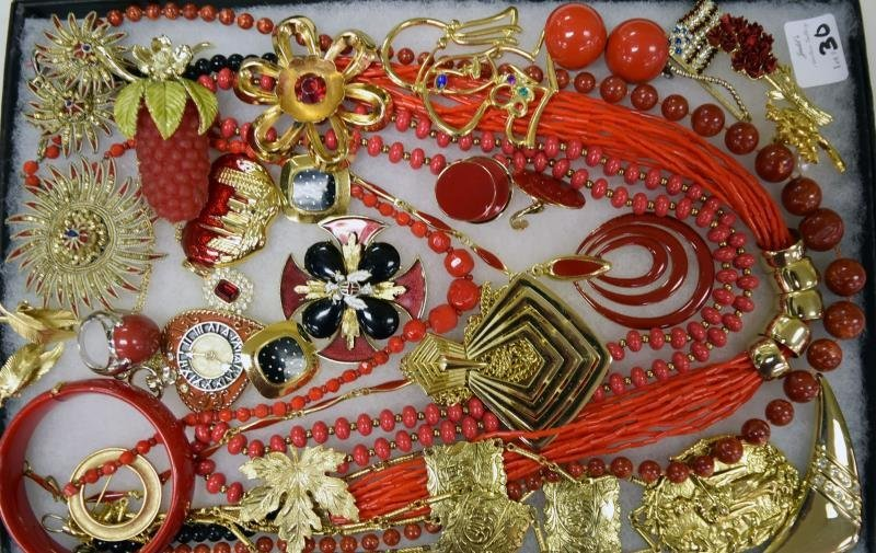 Collection of Red and Goldtone Costume Jewelry