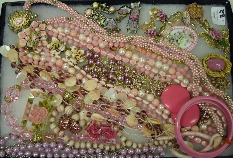 Collection of Pink Costume Jewelry
