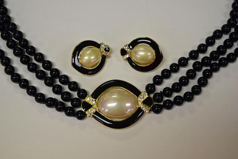 Collection of Black & White Costume Jewelry - 3