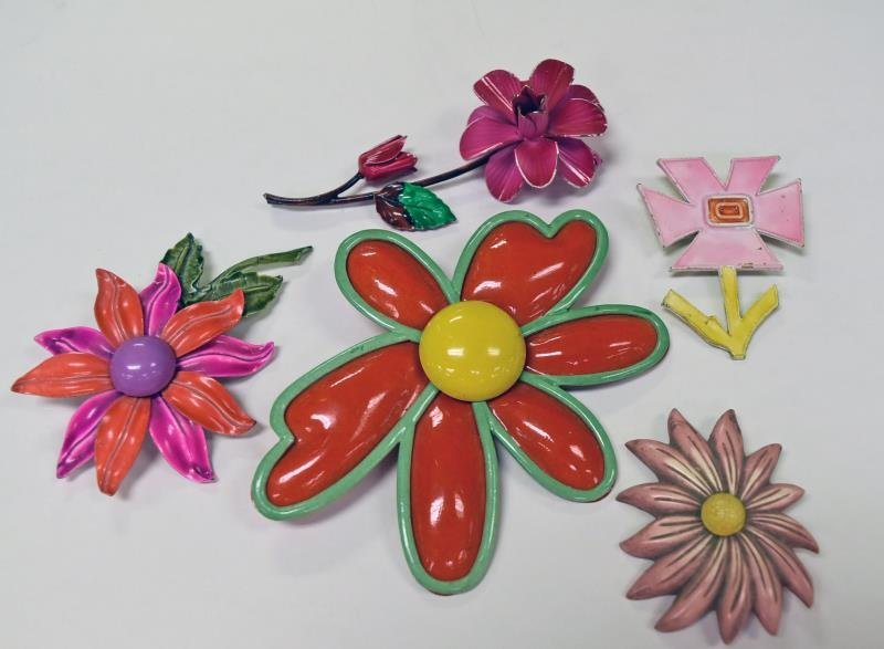 Mid-Century Metal Flower Pins