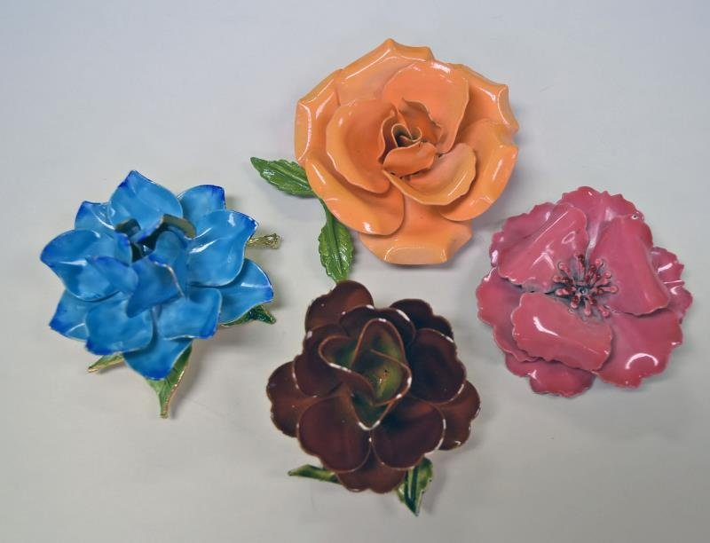 Mid-Century Metal Flower Form Pins or Brooches