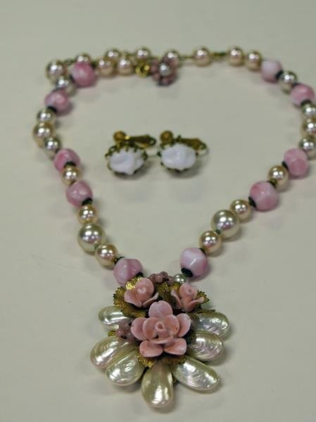 Miriam Haskell Pink & Faux Pearl Necklace