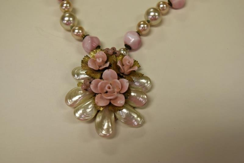 Miriam Haskell Pink & Faux Pearl Necklace - 2