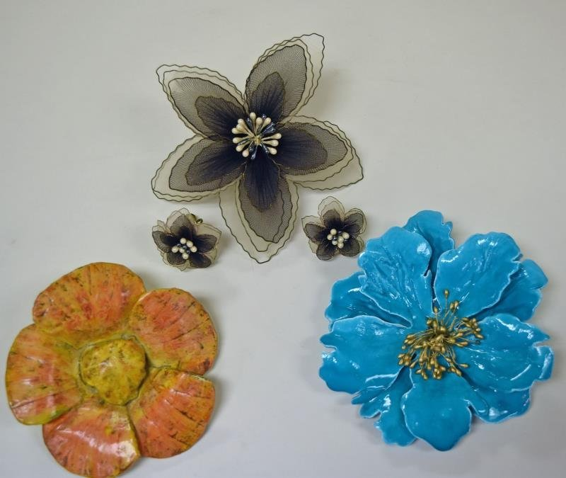 Mid-Century Flower Brooches