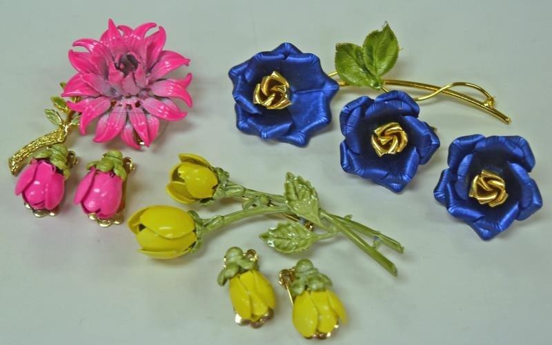 Mid-Century Metal Flower Pins and Earrings