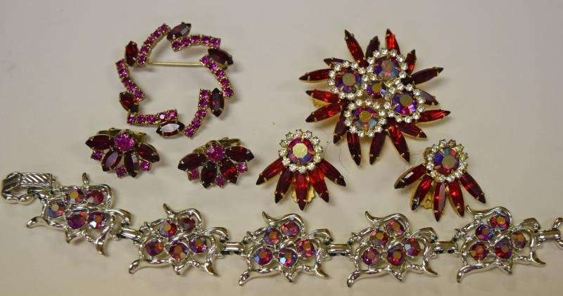 Red Rhinestone Demi-Parure Set