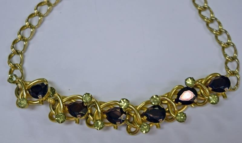 Goldtone and Rhinestone Chain Necklace
