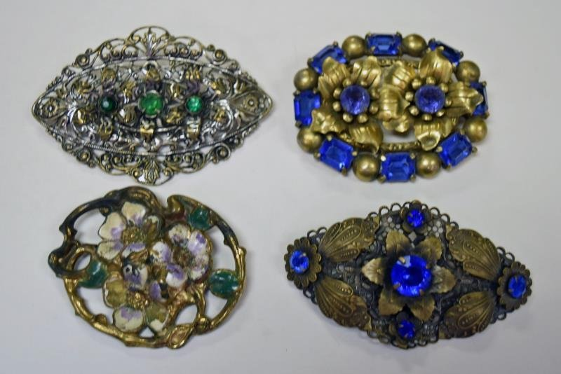 Vintage Brass and Rhinestones Brooches or Pins