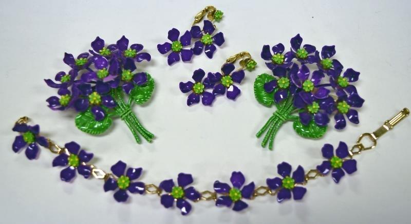Mid-Century Purple Violets Demi-Parure Set