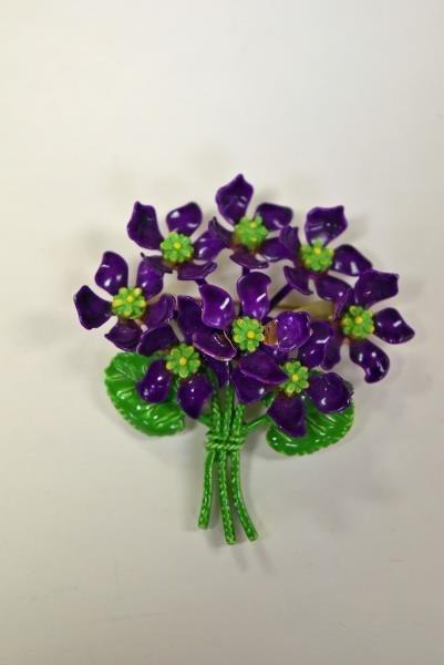 Mid-Century Purple Violets Demi-Parure Set - 2