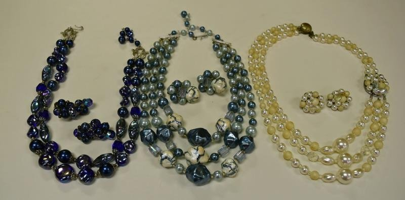 Three Sets of Demi-Parure Necklaces & Earrings
