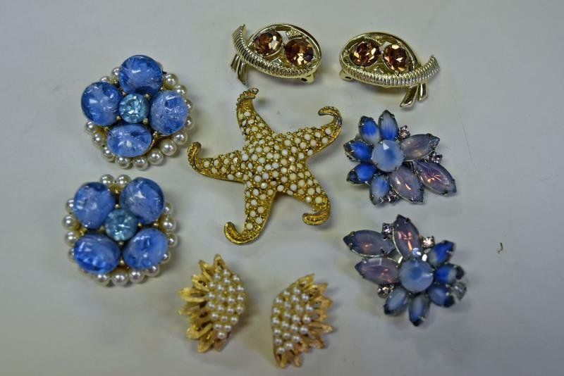 A Group of Kramer Pin and Earrings