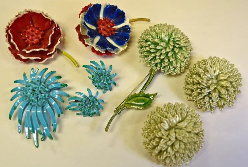 Group of Mid-Century Metal Flower Sets