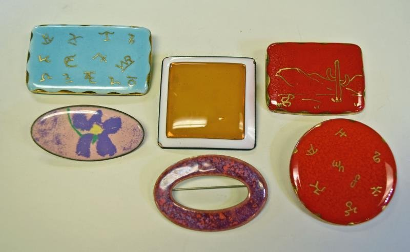 Mid-Century Enamel Pins of Brooches