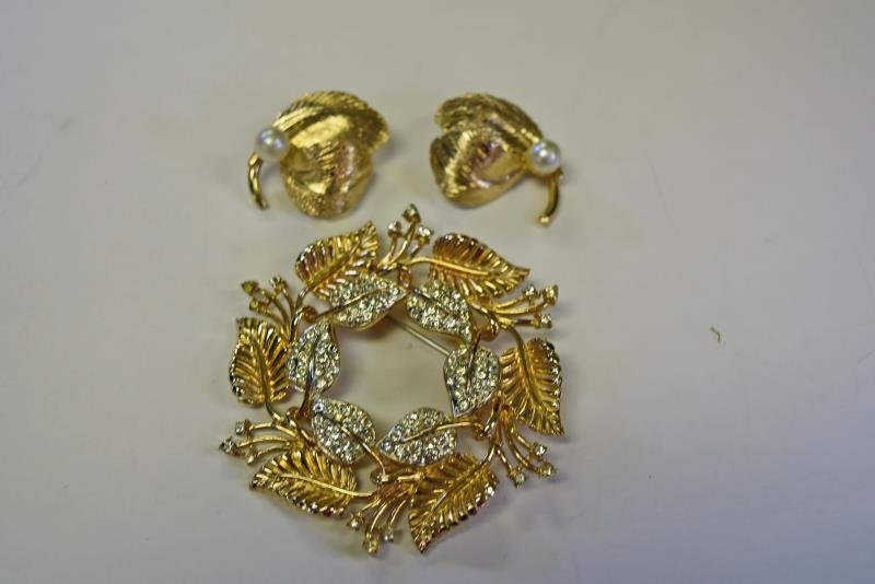 Carnegie Goldtone and Faux Pearl Earrings