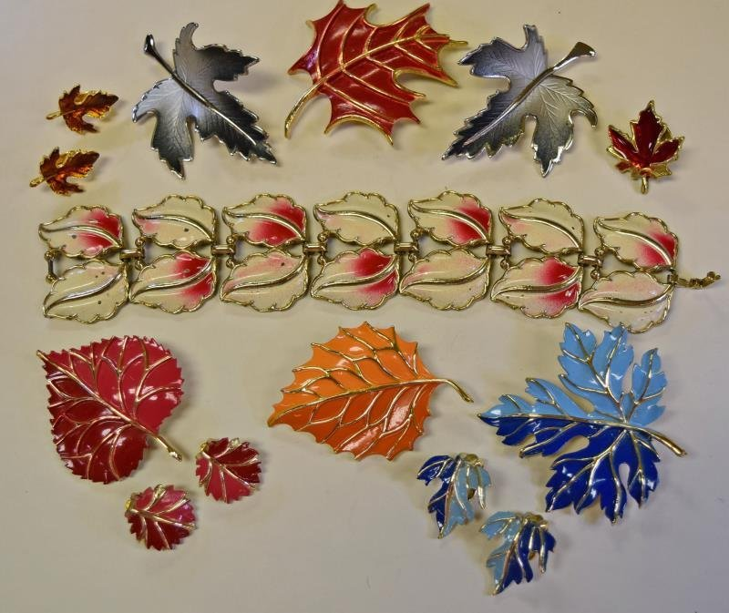 A Group of Mid-Century Leaf Form Pins or Brooches