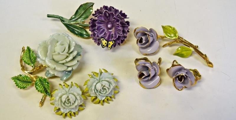 Mid-Century Flower Demi-Parure Sets