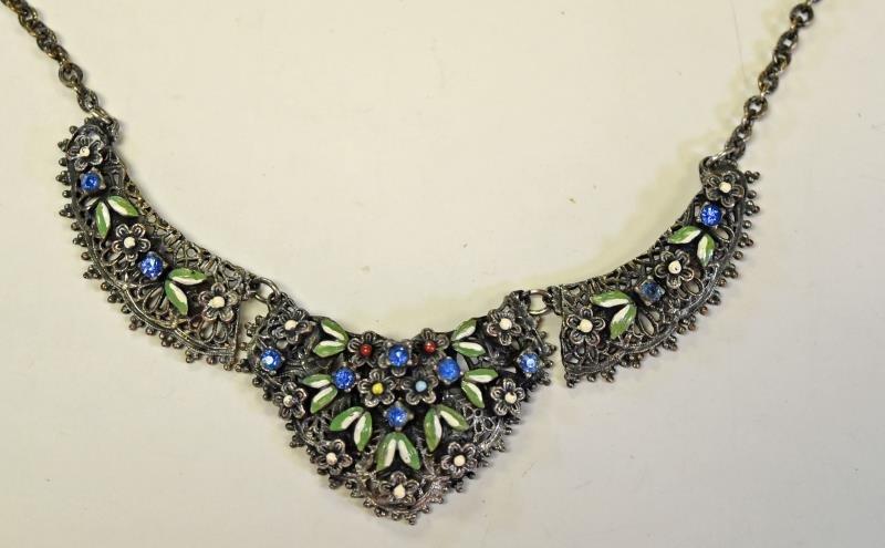 Vintage Enamel Floral Necklace