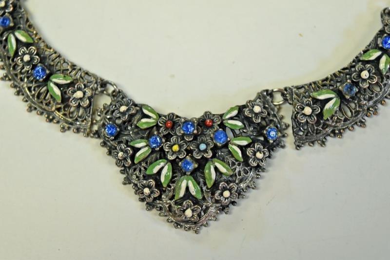 Vintage Enamel Floral Necklace - 2