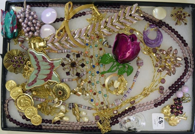 Collection of Goldtone and Purple Jewelry