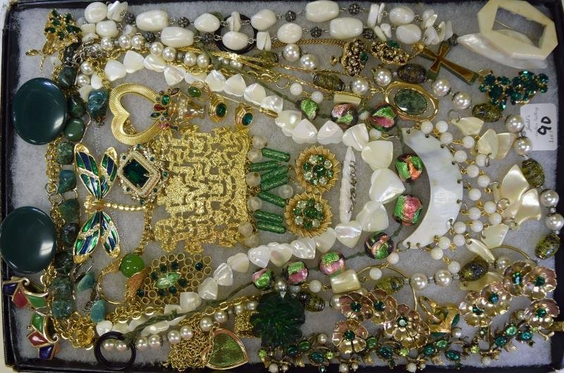 A Group of Green & Goldtone Costume Jewelry