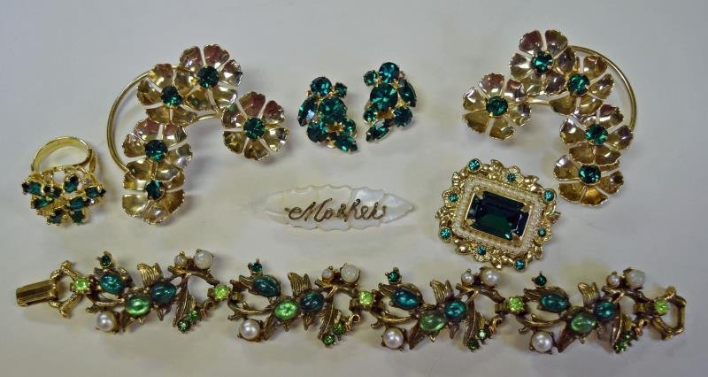 A Group of Green & Goldtone Costume Jewelry - 2