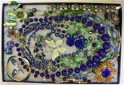 Collection of Green & Silvertone Costume Jewelry