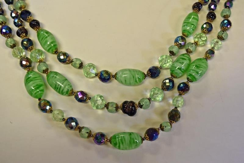 Collection of Green & Silvertone Costume Jewelry - 4