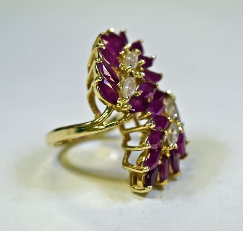 14K Yellow Gold Ruby & Diamond Ring - 2