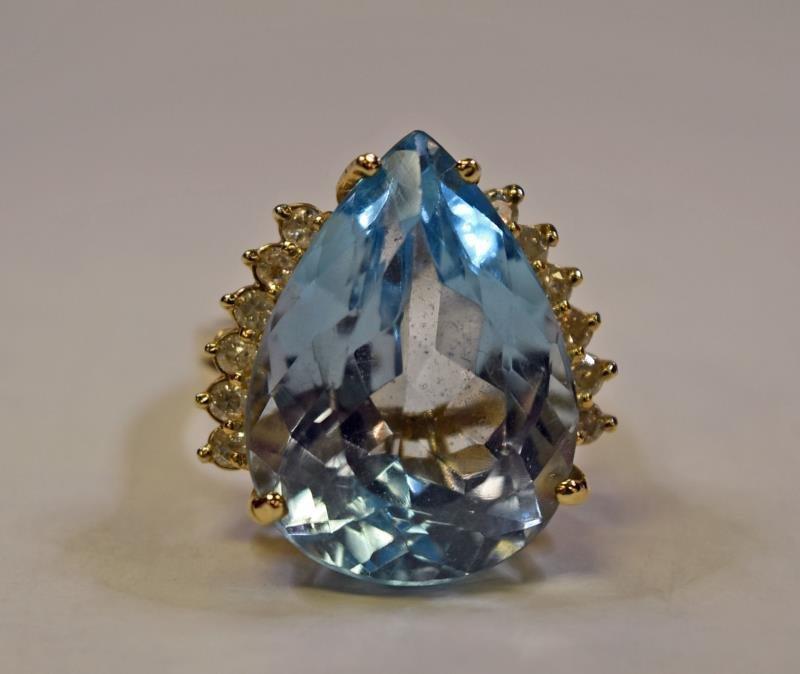 14K Yellow Gold Topaz & Diamond Ring