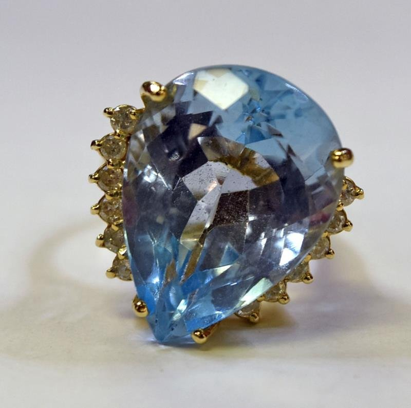 14K Yellow Gold Topaz & Diamond Ring - 2
