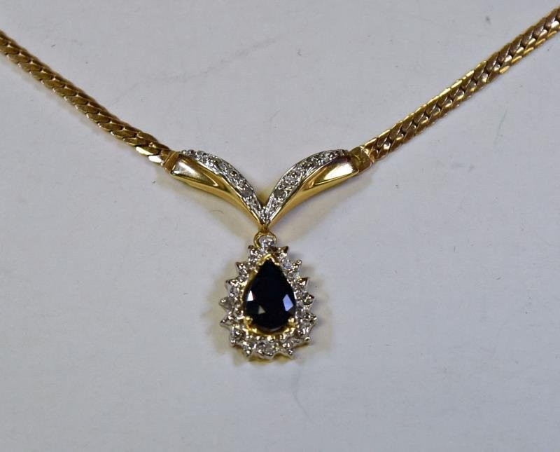10K Yellow Gold & Sapphire Necklace