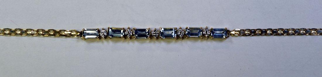 10K Yellow Gold Aquamarine and Diamond Bracelet