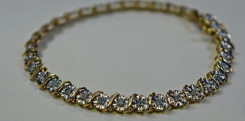 10K Yellow Gold Diamond Bracelet