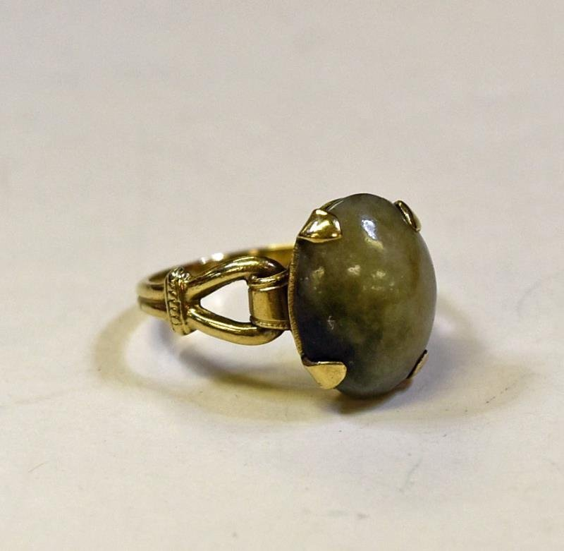 10K Yellow Gold Jade Ring