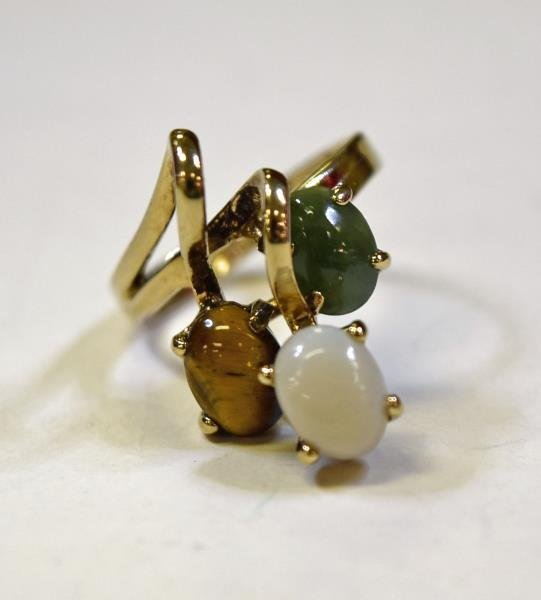 14K  Yellow Gold Opal, Tiger Eye and Jade Ring