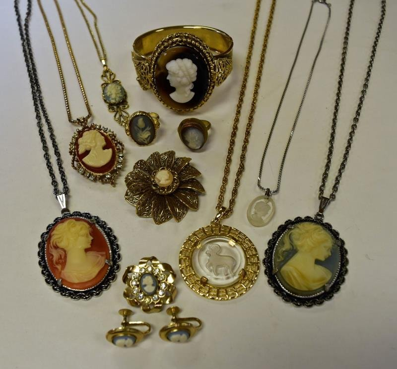 Group of Cameo and Intaglio Costume Jewelry
