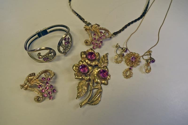 Group of Pink and Goldtone Rhinestones