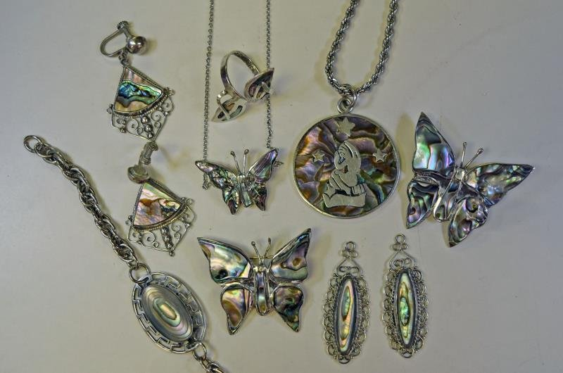 A Group of Mexico Sterling & Abalone