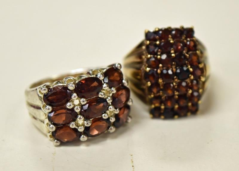 Two Sterling Silver and Garnet Rings