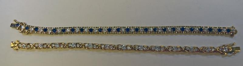 Two Gold over Sterling bracelets